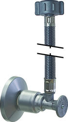 """PUSHON® Pex Brushed Chrome Toilet Supply Stop and 12"""" Factory Attached Braided Connector"""
