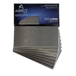 """Aspect 3"""" x 6"""" Long Grain Metal Peel & Stick Backsplash Tiles - 8 pcs"""