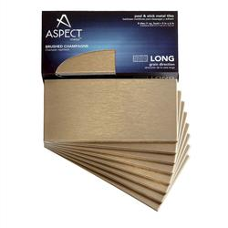 "Aspect 3"" x 6"" Long Grain Metal Peel & Stick Backsplash Tiles - 8 pcs"