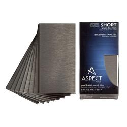 """Aspect 3"""" x 6"""" Short Grain Metal Peel & Stick Backsplash Tiles - 8 pcs"""