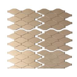 "Aspect 12"" x 4"" Matted Wavelength Metal Peel & Stick Backsplash Tiles - 3 pcs"