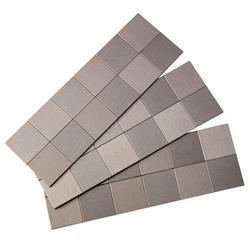 """Aspect 12"""" x 4"""" Matted Square Metal Peel & Stick Backsplash Tiles - 3 pcs"""