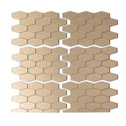 "Aspect 12"" x 4"" Matted Wide Hex Metal Peel & Stick Backsplash Tiles - 3 pcs"