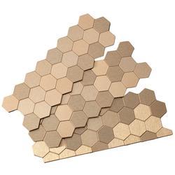 "Aspect 12"" x 4"" Matted Honeycomb Metal Peel & Stick Backsplash Tiles - 3 pcs"