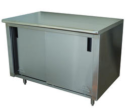 "Advance Tabco Enclosed Base Table-Sliding Doors-30"" x 96""-Stainless Steel-14 Gauge"