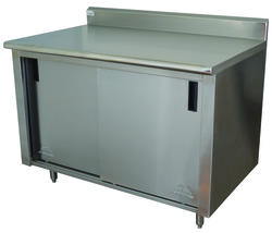"Advance Tabco Enclosed Base Table-Sliding Doors-30"" x 48""-Stainless Steel-14 Gauge-5"" Splash-Mid Shelf"