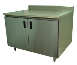 "Advance Tabco Enclosed Base Table-Hinged Doors-30"" x 48""-Stainless Steel-14 Gauge-Mid Shelf-5"" Splash"