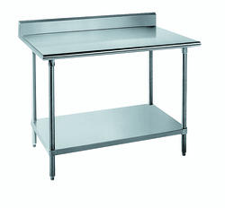 """Advance Tabco Work Table-14 Gauge Stainless Steel Top-Galvanized Under Shelf and Legs- 5"""" Back Splash-30"""" x 48"""""""