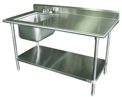"""Advance Tabco Work Table-16 Gauge Stainless Steel Top-5"""" Back Splash-30"""" x 72""""-Sink on Right"""