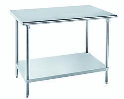 "Advance Tabco Work Table-10"" Splash-No Drip Edge-14 Gauge Top- Galvanized Legs and Under Shelf-30"" x 60"""