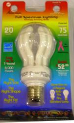 20W Full Spectrum CFL Standard Base Light Bulb