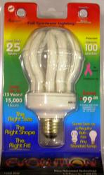25W Full Spectrum CFL Standard Base Light Bulb
