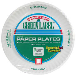 "9"" Green Label Paper Plates - 100 Count"