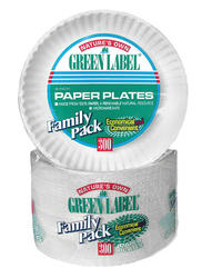 "9"" Green Label Paper Plates - 300 Count"