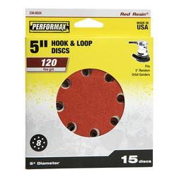 """Performax® 15-Pack 5"""" 8-Hole Hook & Loop Sanding Disc (120-Grit)"""