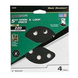 """Masterforce® 4-Pack 5"""" 8-Hole Hook & Loop Sanding Disc (220-Grit)"""