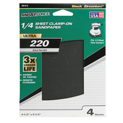 Masterforce® 4-Pack 1/4 Sheet Multipurpose Clamp-On Sandpaper (220-Grit)