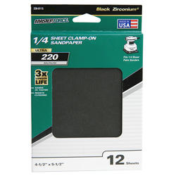 Masterforce® 12-Pack 1/4 Sheet Multipurpose Clamp-On Sandpaper (220-Grit)