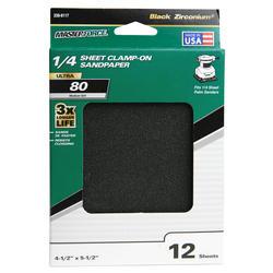Masterforce® 12-Pack 1/4 Sheet Multipurpose Clamp-On Sandpaper (80-Grit)