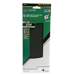 Masterforce® 4-Pack 1/3 Sheet Multipurpose Clamp-On Sandpaper (220-Grit)