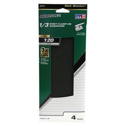 Masterforce® 4-Pack 1/3 Sheet Multipurpose Clamp-On Sandpaper (120-Grit)