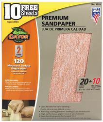"Gator Step 2 9"" x 11"" 120-Grit Premium Sandpaper - 30-pk"
