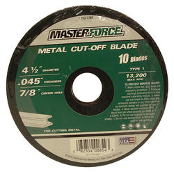 "Masterforce® 4-1/2"" x .045"" Metal Cut-Off Blades (10-Pack)"