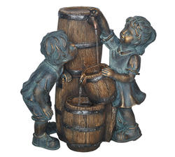 "Enchanted Garden™ 21"" 3-Tier Barrel Fountain with Playing Children"