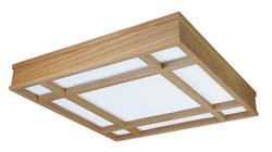 "American Fluorescent 25-3/8"" Honey Oak 4-Light T8  Mission Grid Fluorescent Ceiling Light"