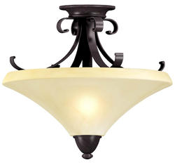 "Swain 13"" Oil-Rubbed Bronze 2-Light 13 Watt GU24 Semi-Flush Mount"