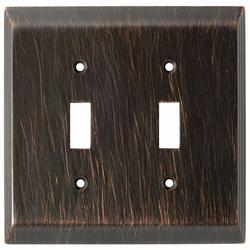 Stantely Cast Metal, Aged Bronze Double Toggle Wallplate