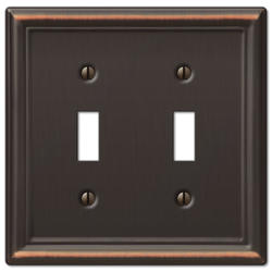 Chelsea Aged Bronze Decorative Steel Double Toggle Wallplate