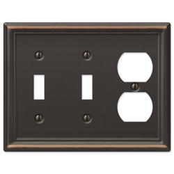 Chelsea Aged Bronze Stamped Steel 2 Toggle 1 Duplex Wallplate