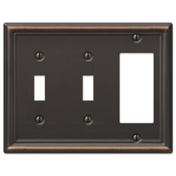 Chelsea Aged Bronze Stamped Steel 2 Toggle 1 Rocker Wallplate