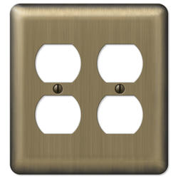 Brushed Brass Double Duplex Wallplate