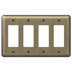 Devon Brushed Brass Stamped Steel 4 Rocker Wallplate