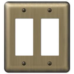 Devon Brushed Brass Stamped Steel 2 Rocker Wallplate