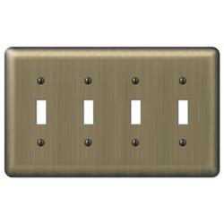 Brushed Brass 4-Toggle Wallplate