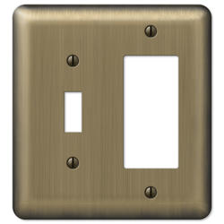 Devon Brushed Brass Stamped Steel 1 Toggle 1 Rocker Wallplate