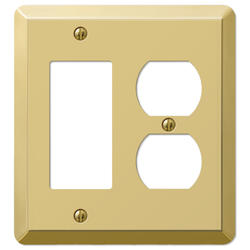 Devon Polished Brass Stamped Steel 1 Rocker 1 Duplex Wallplate