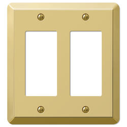 Devon Polished Brass Stamped Steel 2 Rocker Wallplate
