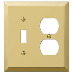 Century Polished Brass Stamped Steel 1 Toggle 1 Duplex Wallplate