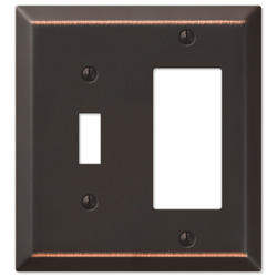 Century Aged Bronze Stamped Steel 1 Toggle 1 Rocker Wallplate