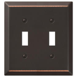 Aged Bronze Steel Double Toggle Wallplate