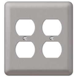 Devon Brushed Nickel Stamped Steel 2 Duplex Wallplate