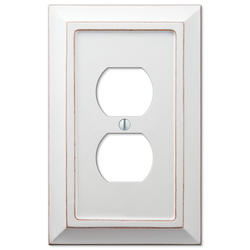 Savannah Distressed White Wood 1 Duplex Wallplate