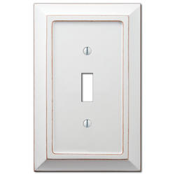 Savannah Distressed White Wood Toggle Wallplate