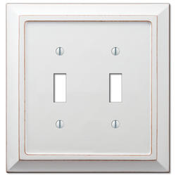 Savannah Distressed White Wood Double Toggle Wallplate