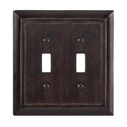 Traditional Dark Walnut Wood Double Toggle Wallplate