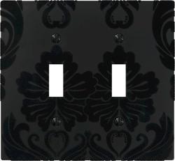 Velvet Flocked Damask Black Double Toggle Wallplate
